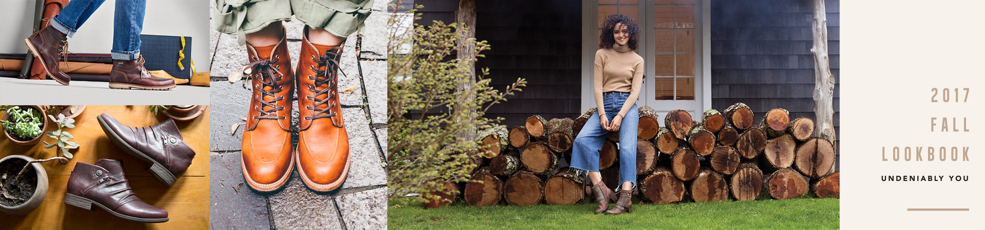 Tryptych of woman's shoes surrounded by succulent plants and fashion design equipment, close up of brown leather boots on a brick path, and a young woman leaning against a pile of logs outside a rustic-style house.