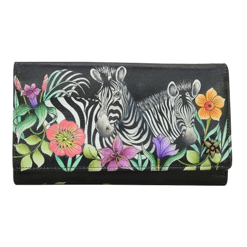 PLAYFUL ZEBRAS TRIPLE FOLD CLUTCH WALLET