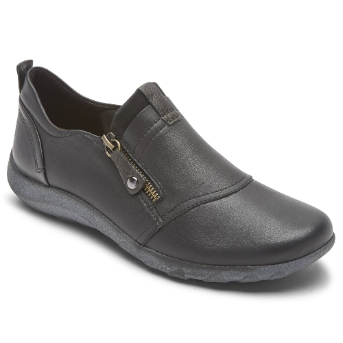 BLACK AMALIE ZIP SLIP-ON